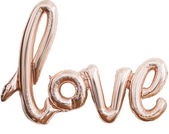 Love Script Balloon - Rose Gold