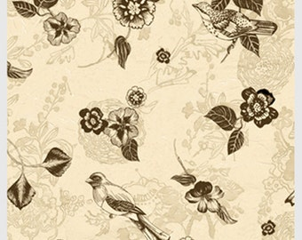 P&B fabric Still Life Flowers and Birds Neutral brown ivory beige floral 100% cotton sewing/quilting fabric by the yard Free Spirit