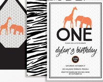 Jungle 1st Birthday Invitation Boys Black Orange Copper Giraffe Elephant Safari Modern Geometric Printable Boy First Zebra Print Party