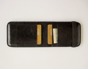 Leather credit card holder, minimalist wallet, with elastic band in dark brown