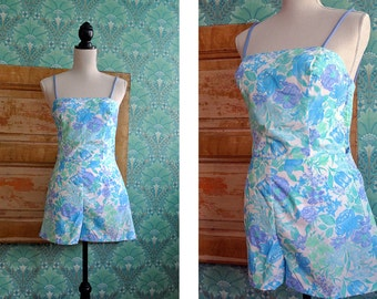 VINTAGE 1970s 1980s Hawaiian Seawaves Floral Playsuit Swimsuit Pinup