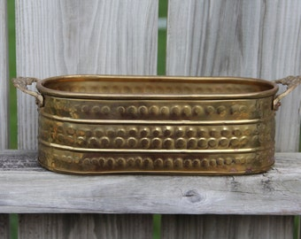Vintage Hammered Brass Planter/Gardening/Metal Container/Bohemian Decor/Storage Container/Hammered Metal