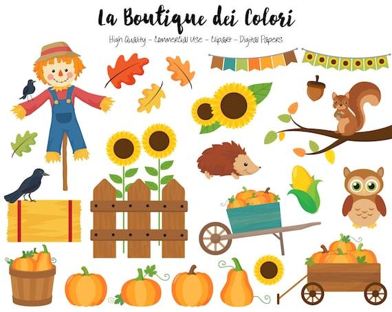 Pumpkin Harvest Clipart Cute Digital Illustrations PNG Autumn