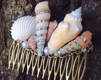Seashell hair comb, OOAK, Beach, Ocean, Mermaid Hair, Wedding, Bridal, Bridesmaids, Nautical Accessories, Gift, Siren, Bohemian, Boho,Nature