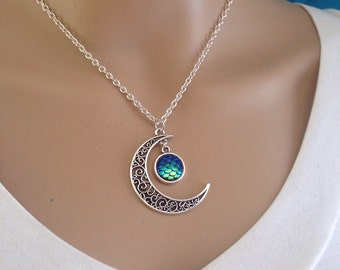 Mermaid Moon, Crescent Moon & Mermaid Scale Necklace, Siren, Moon Goddess, Moon Jewelry, Gift, Boho, Bohemian