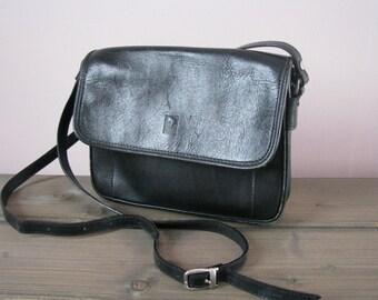 Italian crossbody bag Puccini black leather crossbody satchel leather shoulder bag leather handbag messenger bag briefcase tote bag