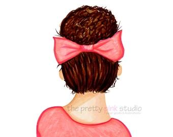 Fashion illustration - Hair illustration, Hair bun print, Girly room decor, Chic fashion sketches, Teen room decor, Girl illustration, Bow