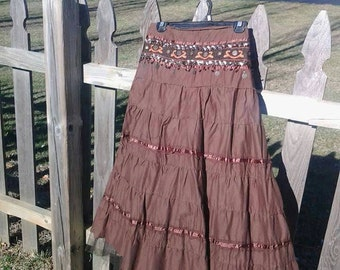 Gypsy flow skirt with attached hip scarf Size M