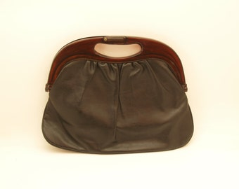 Vintage Black Leatherette and Faux Tortoiseshell Handle Bag