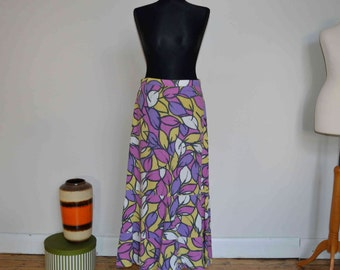 Abstract leaf maxi skirt -- Small