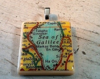 Tile Pendant with Vintage Map Image of the Sea of Galilee, Israel  - 1""