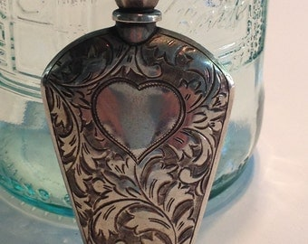 Tiny Antique Hand-Engraved  Sterling Silver Perfume Bottle