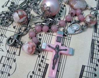 Vintage Assemblage Necklace Vintage Pink Rosary Necklace Religious Assemblage Upcycled Jewelry Vintage Pink Crucifix Asymmetrical