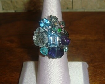 Amethyst, Apatite, Aquamarine, Blue Sapphire, Blue Topaz, and Chrome Diopside cluster ring in Sterling Silver