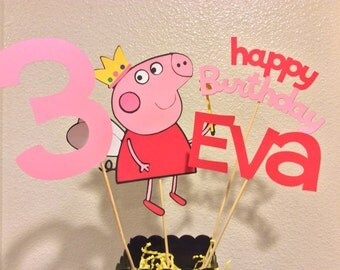 "PEPPA PIG CENTERPIECE Extra Large 8"" with phrase name and age"