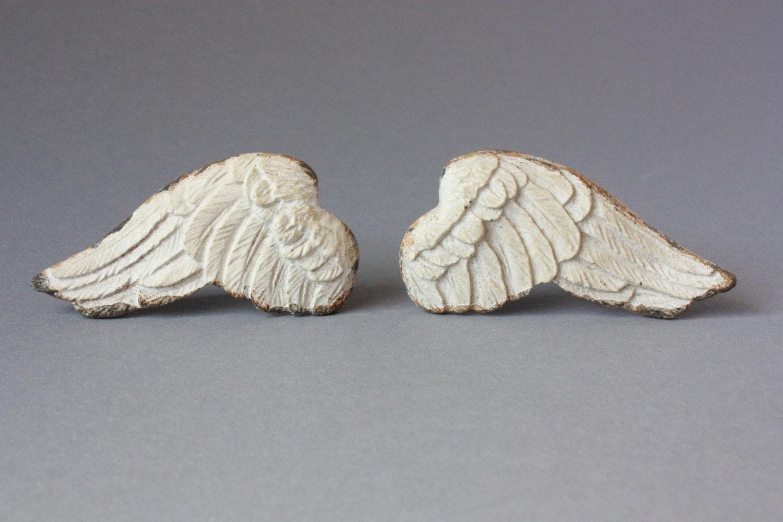 4 Pairs Of Door Knobs Angel Wings Shabby Drawer Pulls Rustic