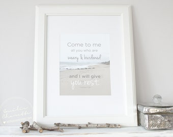 Come to me - Christian French or English Poster with Bible Verse - 8,5 po x 11 po