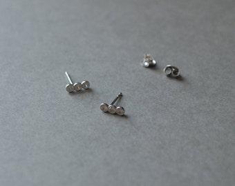 "Tiny 3  CZ dot , CZ Stud Earrings , CZ posts "" Silver Clear"""