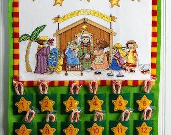 Bucilla Christmas Pageant ~ Felt X-Stitch Nativity Advent Calendar Kit #86388B DIY