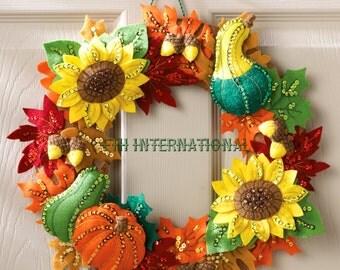 Bucilla Harvest Time Wreath ~ Felt Fall Home Decor Kit #86428 Sunflowers Pumpkin DIY