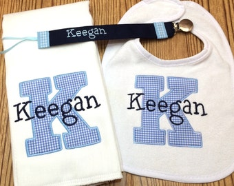 Personalized Bib & Burp Cloth Set with Single letter Initial and Name Embroidered w/ optional pacifier clip