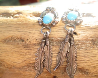 Vintage, OrnateTurquoise and Sterling feathers Post Dangle Earrings