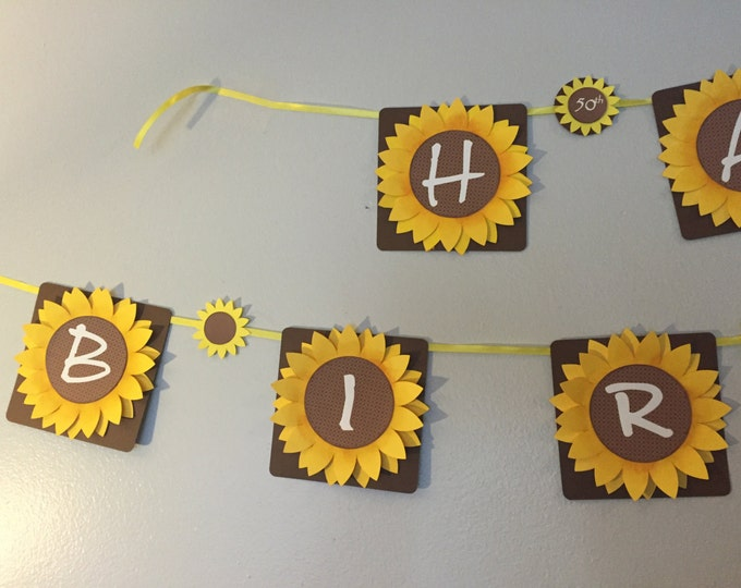 Sunflower Party Banner. Birthday Decorations. Sunflower Party Supplies. Sunflower Birthday Banner