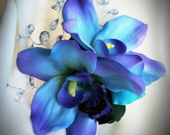BRIDAL FLOWER CLIP-Maui Blue Hawaiian Orchids, Tropical, Beach Wedding Accessory, Crystal Center, Headpiece, Tropical Hair Clip, Silk flower