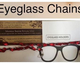 Eyeglass Chain, Eyeglass Holder, eyeglass necklace, crochet, ladder yarn, ribbon, multi colors