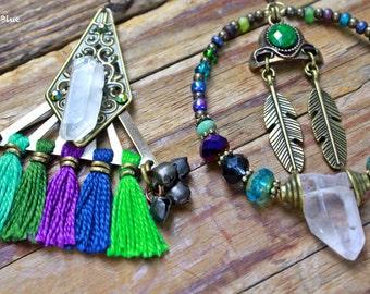 Sanatani asymmetrical bohemian gypsy hippie tribal earrings
