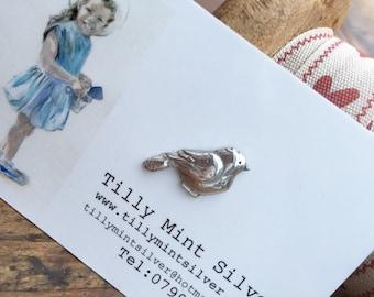 Handcrafted Fine Silver Little Bird Pin