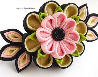 Handmade Kanzashi fabric flower grosgrain ribbon french barrette - hair accessories in UK,shipping worldwide