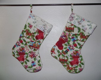 FREE SHIPPING, Christmas Stocking, Set With Lace Top, and Whimsical Toys,