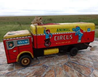 Old Animal Circus Truck Tin wind up toy 26cm long