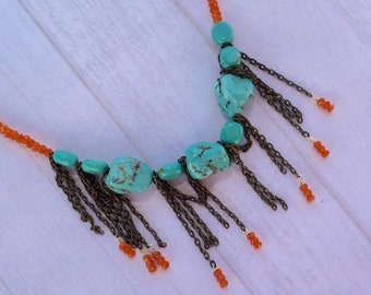 Carnelian and turquoise waterfall bib necklace. Measures 15 inches