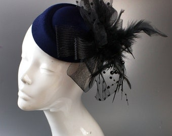 Navy Blue & Black Pill-Box Hat Feathers Fascinator Hatinator on Clip for Ascot Races Weddings