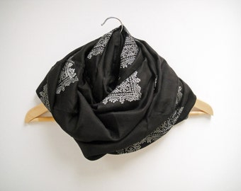 Infinity Silk Scarf Black and White Indian Loop Cowl
