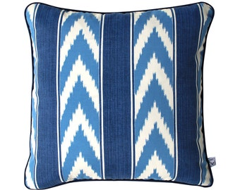BLUE IKAT Stripe Outdoor Cushion Pillow | 50cm | 20 inch Square Cover