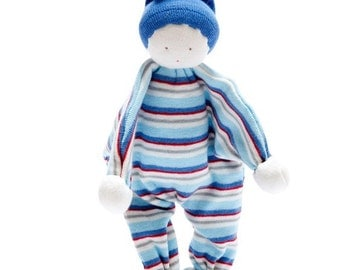 Organic cotton baby buddies, blue stripe, soft toy, comforter, doudou