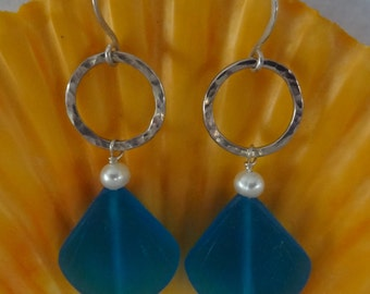 Recycled Blue Glass Shell Earrings With White Freshwater Pearl