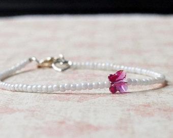 White And Pink Bracelet, Minimalist Bracelet, Dainty Bracelet, Seed Bead Bracelet, Swarovski Butterfly, Simple Bracelet, Beaded Bracelet
