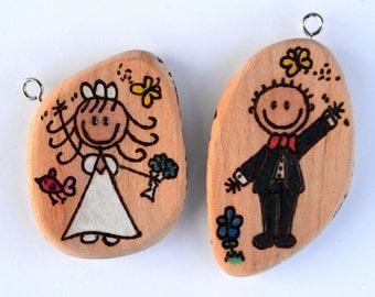 Wedding key ring Personalised Wooden handmade pyrography
