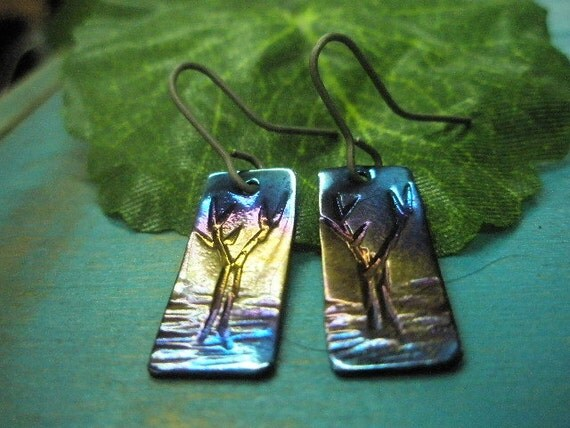 Titanium earrings heat treated long square with bush trees