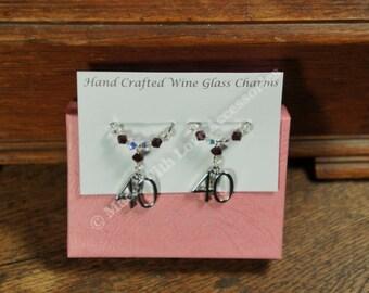 Wine Charms, Ruby Wedding Anniversary Wine Glass Charms - 40th Wedding Anniversary - Swarovski Crystal