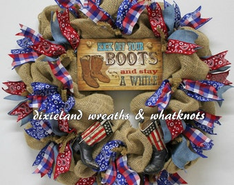 Western Wreath, Western Welcome Wreath, Cowboy Boots Wreath, Burlap Wreath, Kick Your Boots Off Wreath, Western Burlap Wreath