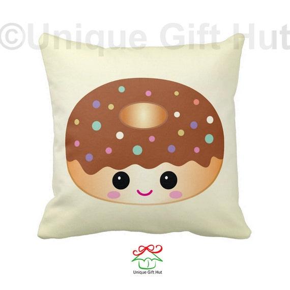Donut Pillow-Cute Throw Pillow-Throw Pillow Cover-Home Decor-Kawaii Decorative Pillow-Pillow ...