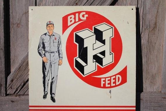 "Honegger's Big H Feed 18"" x 16"" Metal Farm Sign - Fairbury, Illinois"