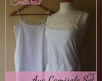 Aya Camisole Lingerie Underwear Sewing Pattern ePattern Instant Download PDF Women 3 Set