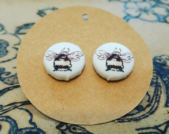 Bumble Bee fabric covered button earrings