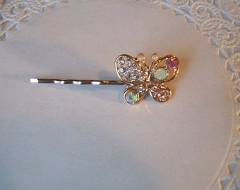 Butterfly Hair Pin (237) - Rhinestone Butterfly Hair Pin - Butterfly Bobby  Pin - recycled jewelry